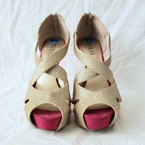 Guess pink & gold sparkly platform peep toe heels